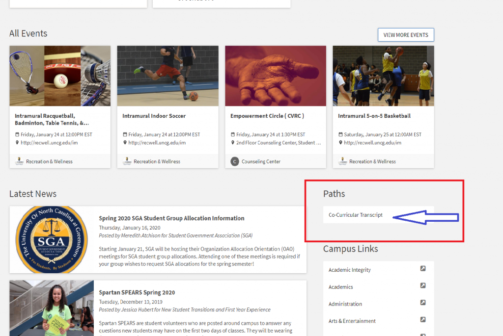 Image designates where on SpartanConnect website to find your Co-Curricular Transcript link